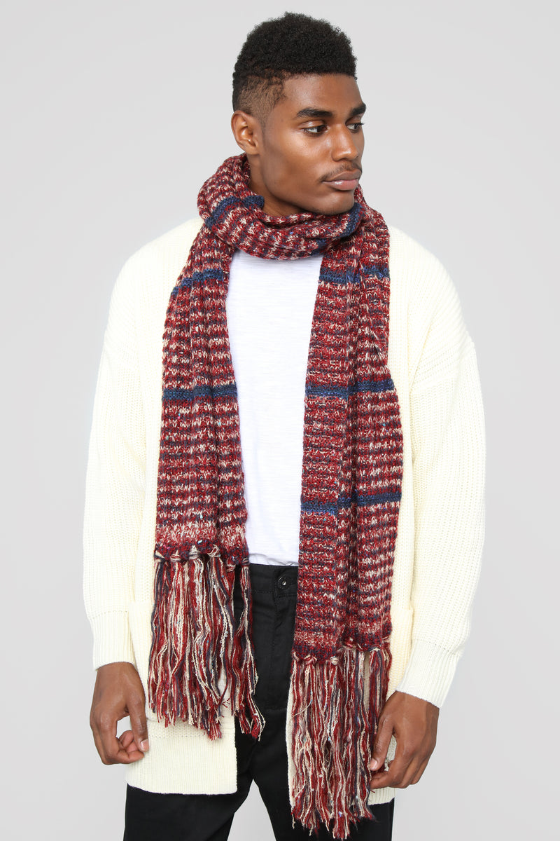 The Troy Striped Scarf - Red
