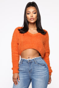 Keep Me Cozy Fuzzy Sweater - Rust Angle 1