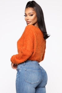 Keep Me Cozy Fuzzy Sweater - Rust Angle 3