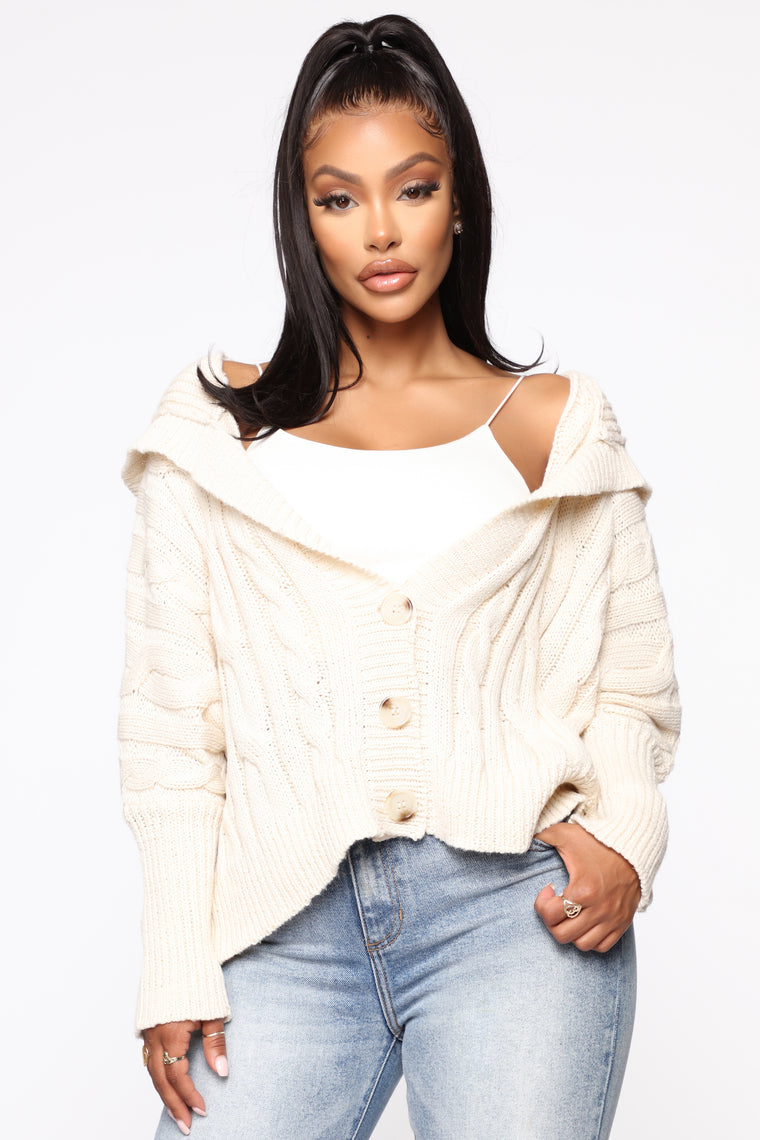 Just Loving You Hooded Sweater - Ivory