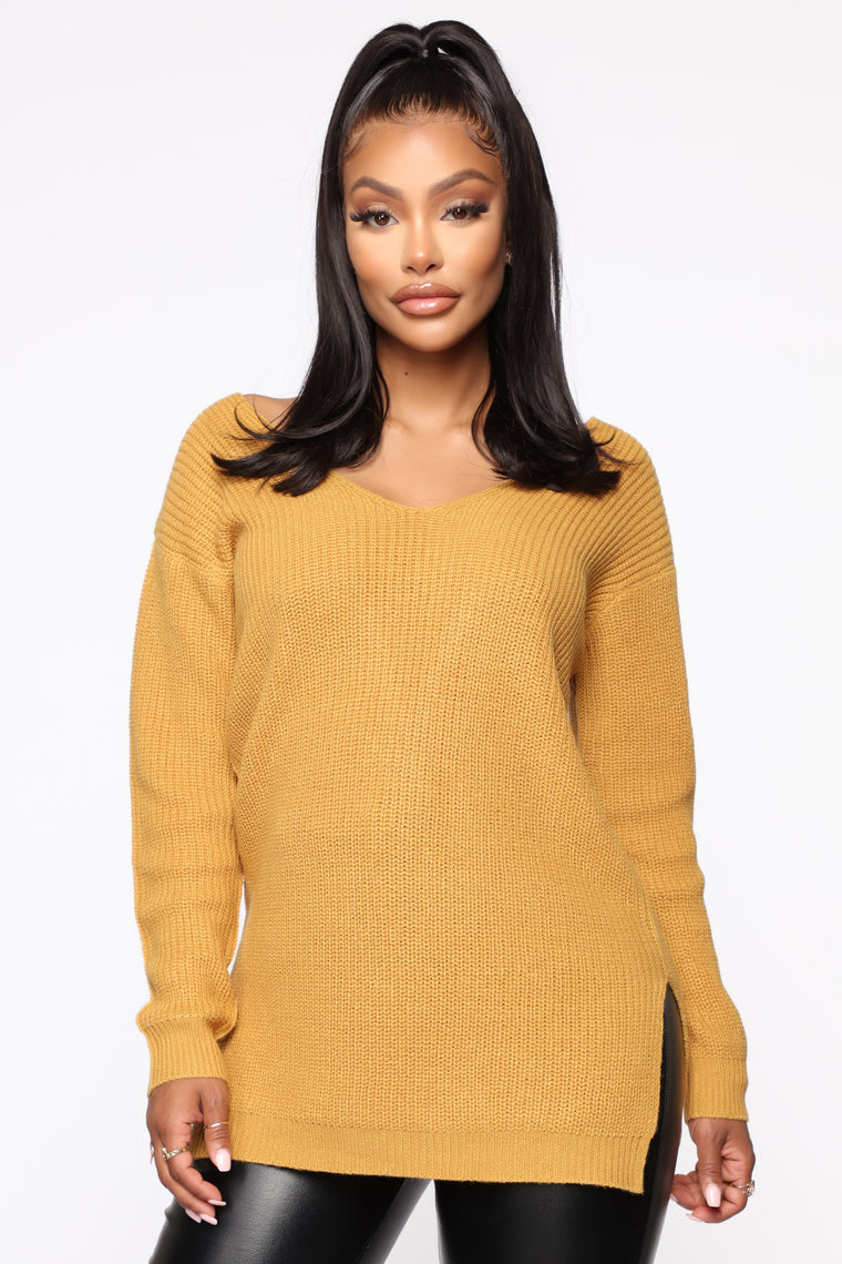 Georgina Caged Back Sweater   Mustard by Fashion Nova
