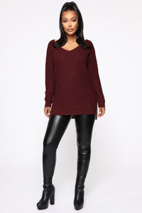 Georgina Caged Back Sweater - Burgundy Angle 2