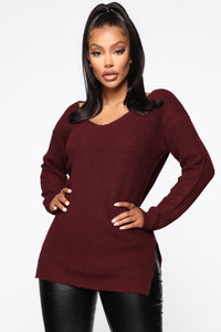 Georgina Caged Back Sweater - Burgundy Angle 1