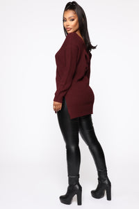 Georgina Caged Back Sweater - Burgundy Angle 4