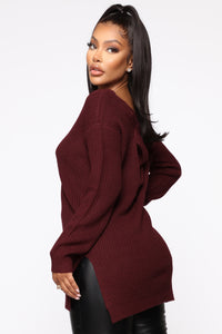 Georgina Caged Back Sweater - Burgundy Angle 3