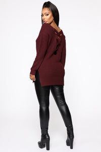 Georgina Caged Back Sweater - Burgundy Angle 5