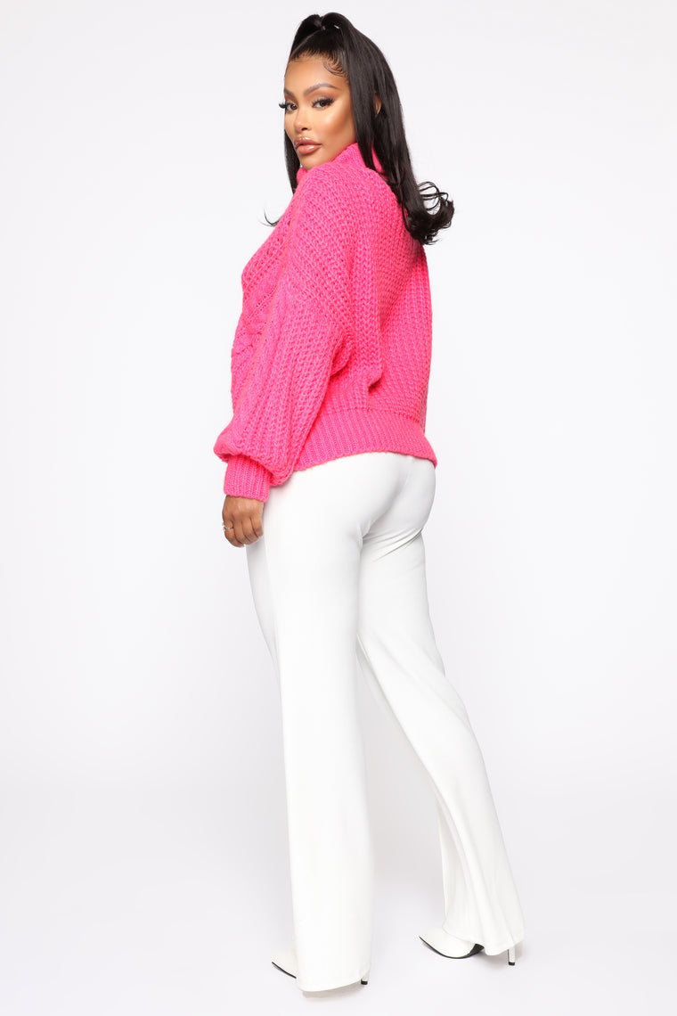 Cozy Girl Turtleneck Sweater - Hot Pink