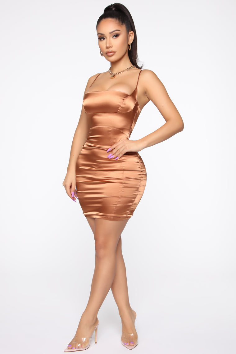 Moment To Remember Mini Dress - Copper