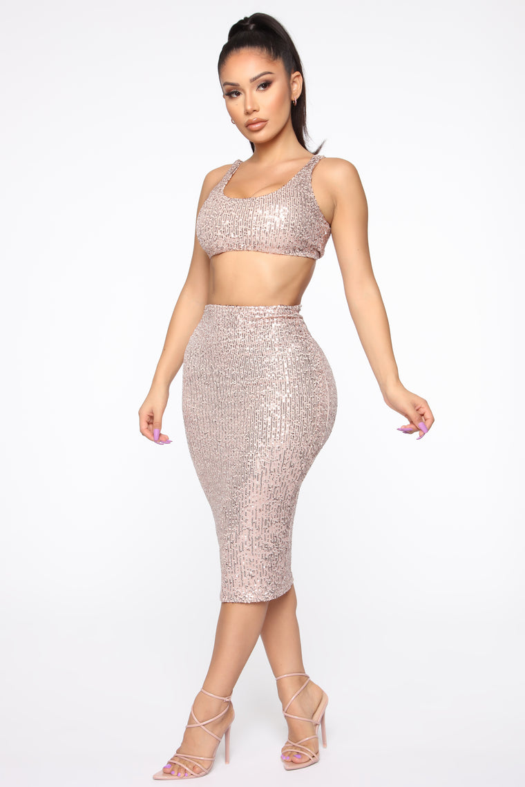 Born To Shine Sequin Set - Rose Gold