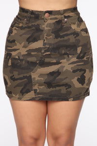 Army Brat Mini Camo Skirt - Olive/Combo