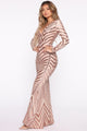 All Eyes On Us Sequin Gown - RoseGold
