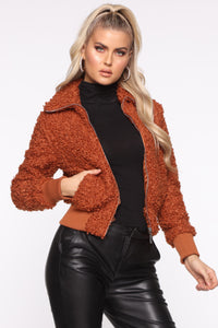 Hope Fur The Best Jacket - Rust Angle 1