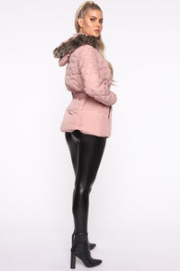 Belted My Cold Heart Puffer Jacket - Mauve