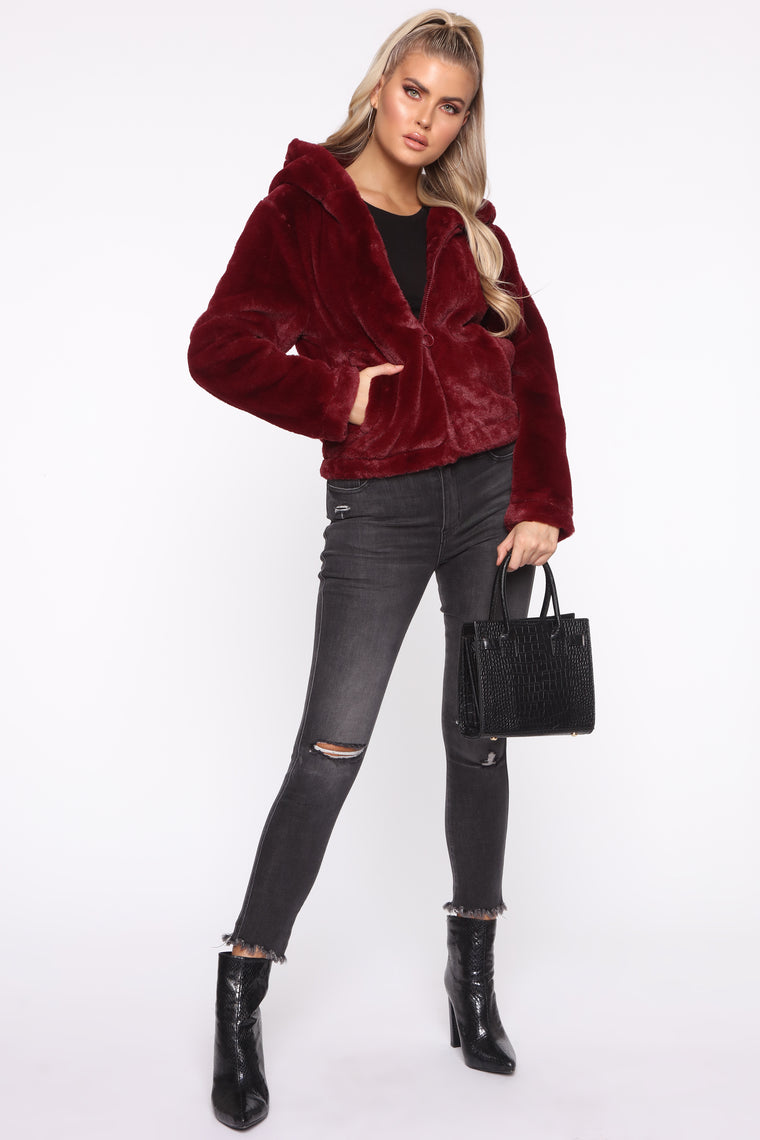 Never Felt Better Faux Fur Jacket - Burgundy