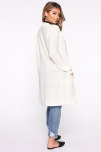 Throw It On Ribbed Cardigan - Ivory