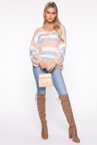 Getting Warmer Striped Sweater - Blush/Combo Angle 2