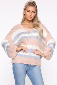 Getting Warmer Striped Sweater - Blush/Combo Angle 1