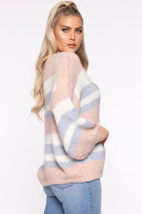 Getting Warmer Striped Sweater - Blush/Combo Angle 3