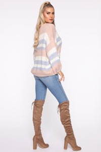 Getting Warmer Striped Sweater - Blush/Combo Angle 4
