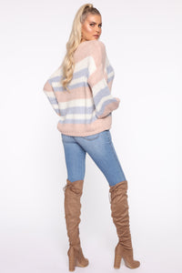 Getting Warmer Striped Sweater - Blush/Combo Angle 5