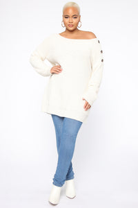 Cuddled Up Tunic Sweater - Ivory