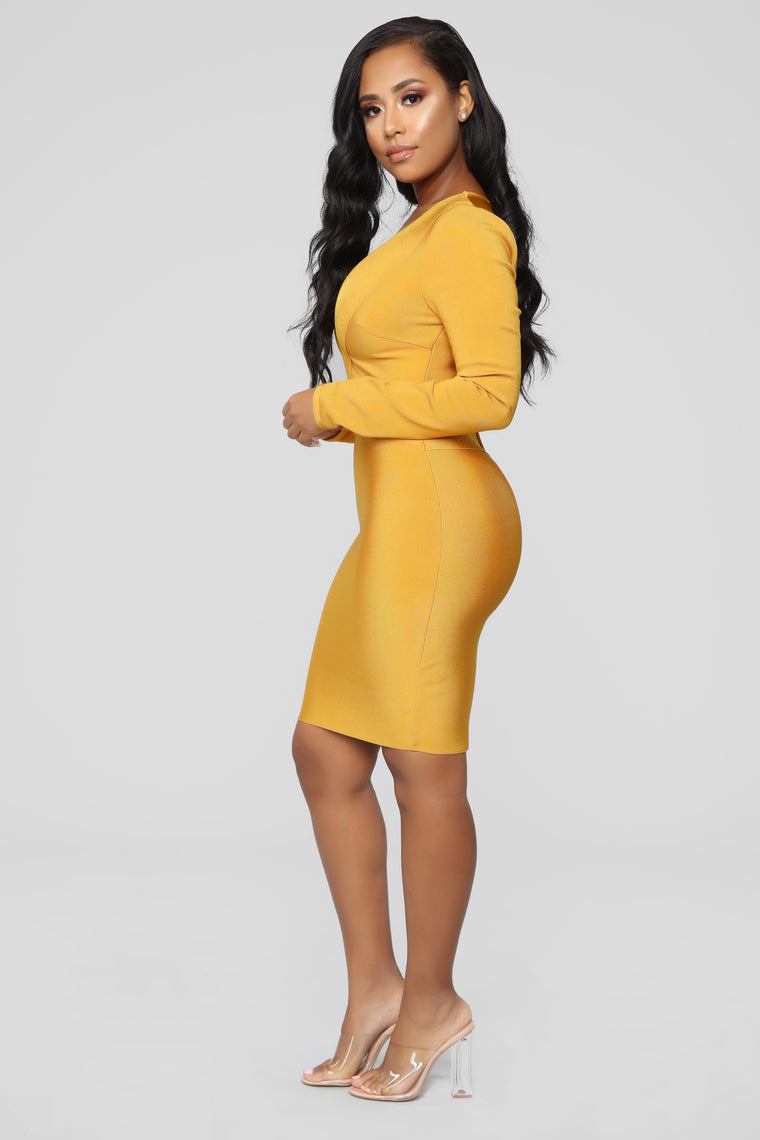 Saturday Night Bandage Dress - Mustard