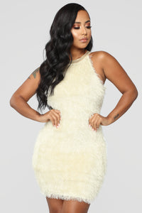 For The Frills Fuzzy Dress - Ivory