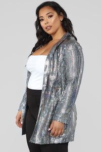 Shine Bright Long Blazer - Silver