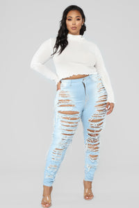 Caught In Your Love Distressed Jeans - Light Blue Wash