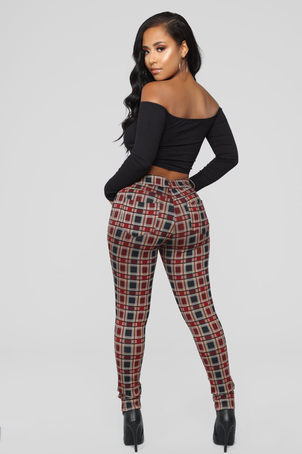 92e3f703f6d Leaving You On Read Ponte Pants - Red Multi