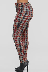 Leaving You On Read Ponte Pants - Red Multi