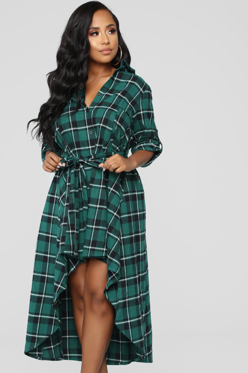 No More Excuses Flannel Shirt Dress - Hunter