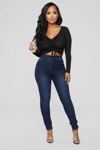 Sierra Ruched Cropped Top - Black