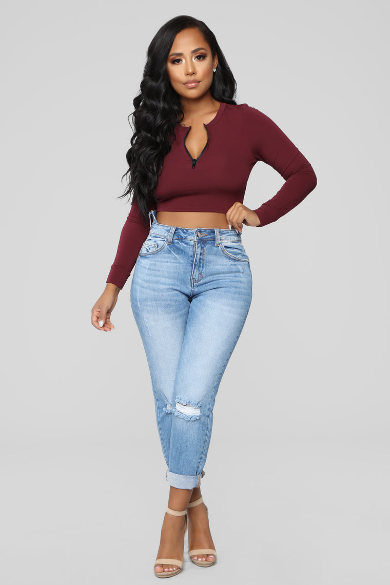 On The Run Long Sleeve Top - Wine