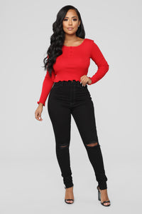 That Sporty Look Marrow Hem Top - Red