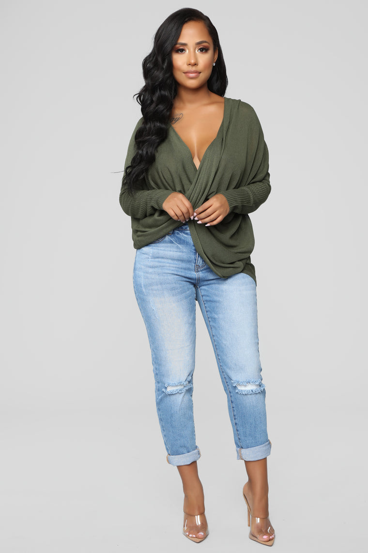 Sammie High Low Sweater - Olive