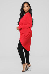 Sammie High Low Sweater - Red