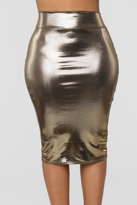 Heart Of Gold Midi Skirt - Gold Angle 2