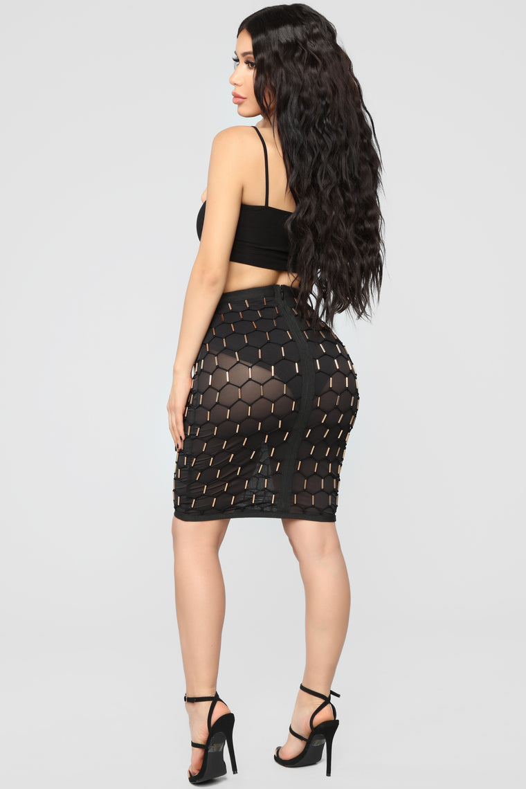Leaving You Tonight Beaded Skirt - Black