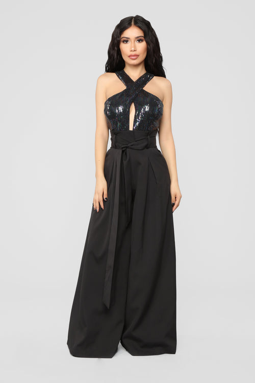 A Beautiful Night Sequin Jumpsuit - Black