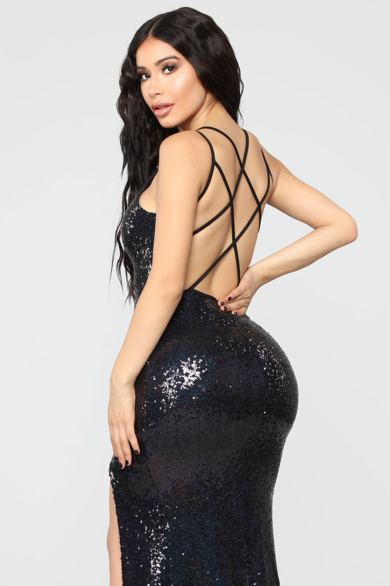 Don't Get Fooled Sequin Dress - Black