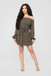 Dinner In Tahiti Dress - Olive