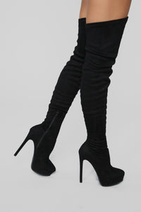 Envious Much Faux Suede Heeled Boot - Black