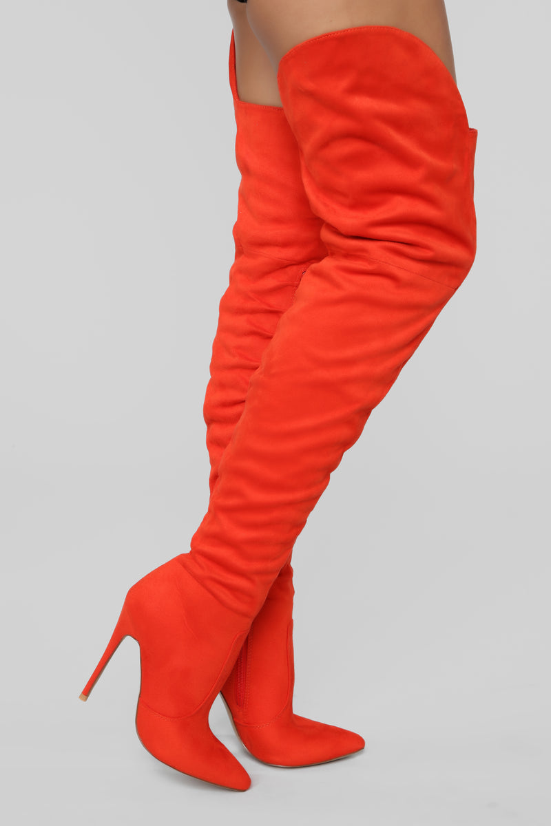 Soft As Suede Thigh High Boot - Orange
