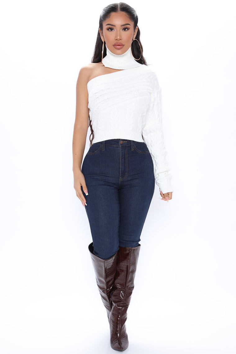 Cozy Up One Shoulder Sweater - Ivory