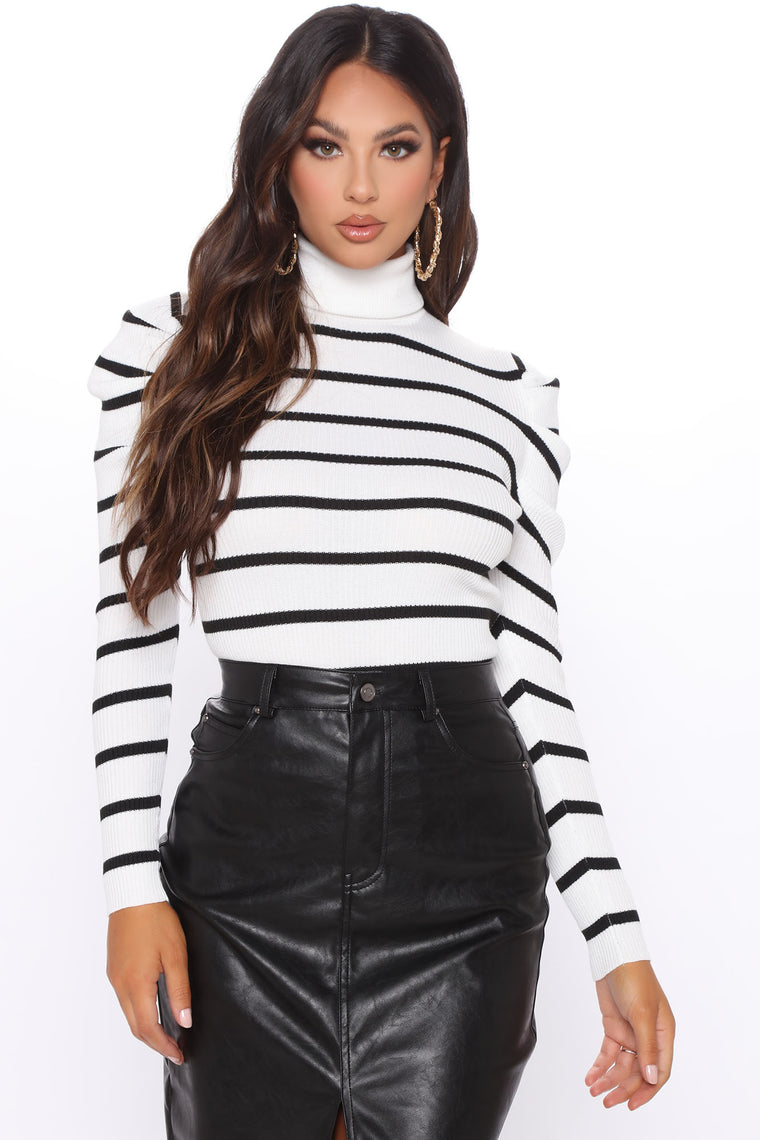 Puff Love Striped Turtleneck Sweater - Black/White