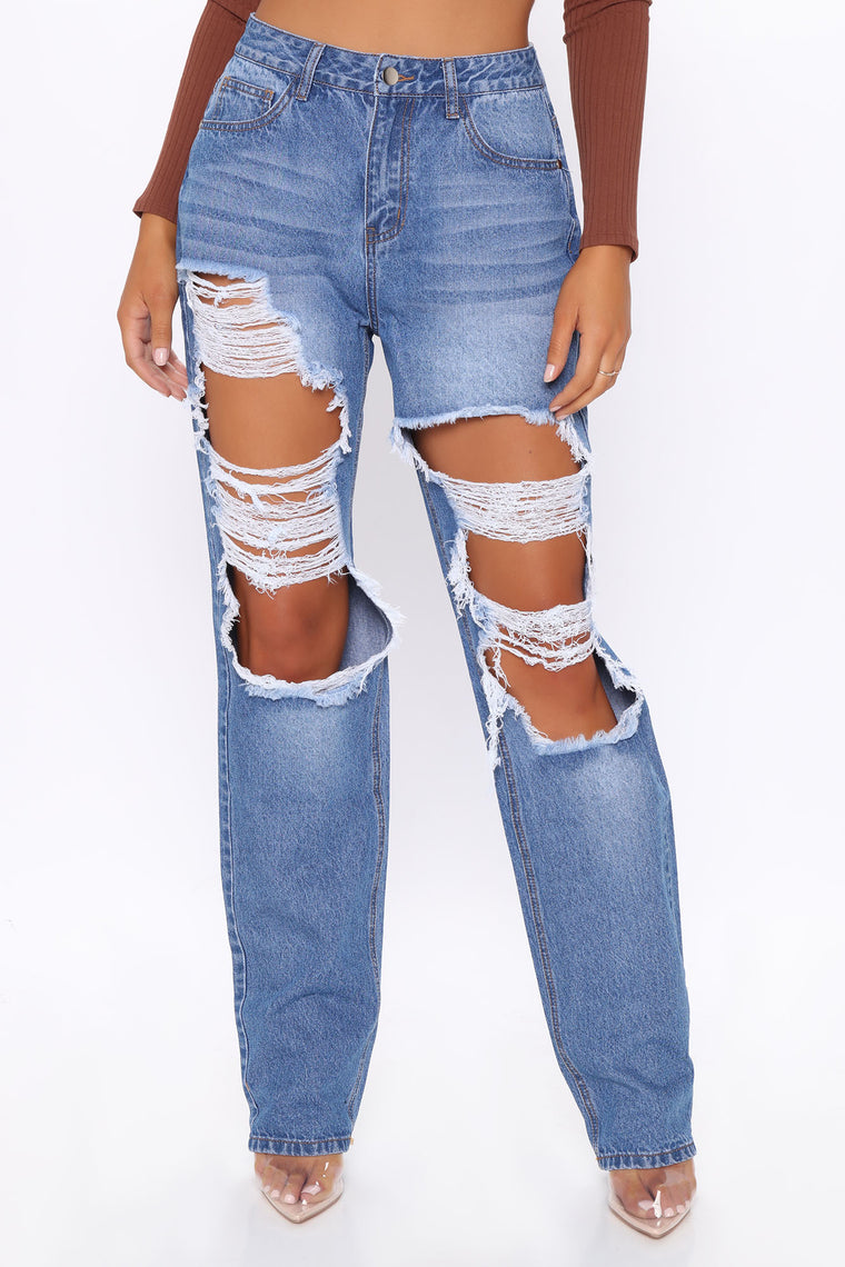Tall Keep On Dancing Distressed Boyfriend Jeans - Medium Blue Wash