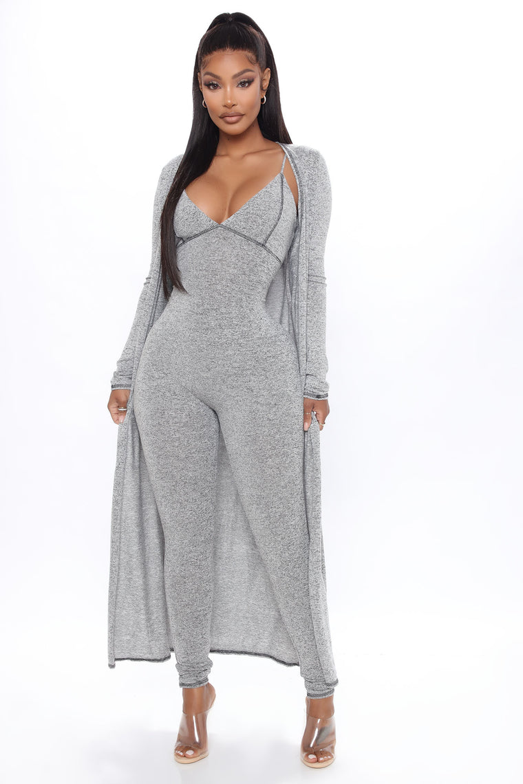 Come Over And Chill Jumpsuit Set - Grey