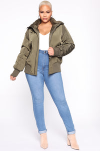 Nights In Denver Bomber Jacket - Olive Angle 7