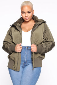 Nights In Denver Bomber Jacket - Olive Angle 6